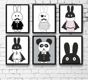 Cartoon Pirate Hero Rabbit Minimalist Canvas Poster Nordic Art Painting Wall Picture Children Room Decoration - SallyHomey Life's Beautiful