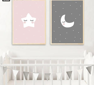 Cute Moon Star Baby Nursery Wall Art Canvas Posters Prints Cartoon Painting Nordic Kids Decoration Picture Baby Bedroom Decor - SallyHomey Life's Beautiful