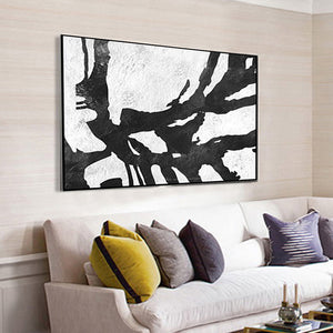 Handpainted black white paintings large canvas paintings for living room home decor unframed - SallyHomey Life's Beautiful