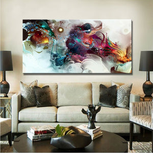 Modern Posters and Prints Wall Art Canvas Painting on Canvas Home Decor Watercolor Abstract Dangon Pictures for Living Room Wall - SallyHomey Life's Beautiful