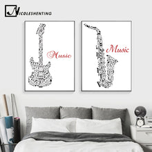 Load image into Gallery viewer, Jazz Music Instrument Minimalist Art Canvas Poster Prainting Guitar Violin Black White Picture Print Home Room Decoration - SallyHomey Life's Beautiful