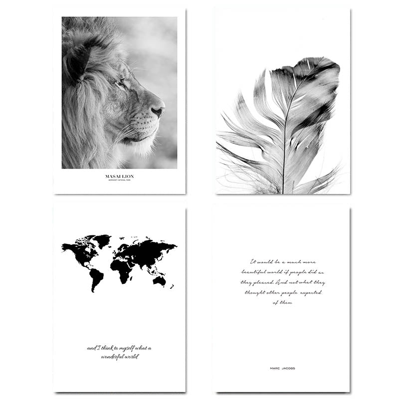 Scandinavian Black White Poster Nordic Canvas Wall Art Print Africa Animal Lion Painting Decorative Picture Home Decoration - SallyHomey Life's Beautiful