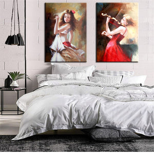 Modern Abstract Posters and Print Wall Art Canvas Painting Beautiful Girls Decorative Pictures for Living Room Decor No Frame - SallyHomey Life's Beautiful