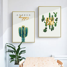 Load image into Gallery viewer, Nordic Minimalism Posters And Prints Green Wall Art Canvas Painting Cacti Flowers Art Pictures for Living Room Decor Frameless - SallyHomey Life's Beautiful