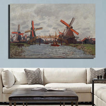 Load image into Gallery viewer, Impressionis Artist Claude Monet Windmill Near Zaandam Landscape Oil Painting On Canvas Art Wall Picture Canvas for Room Decor - SallyHomey Life's Beautiful