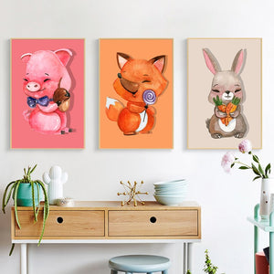 Cartoon Animals Posters and Prints Wall Art Canvas Painting Cute Pig, Bunny, Fox Decorative Paintings for Living Room Home Decor - SallyHomey Life's Beautiful