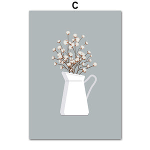 Plant Flower Minimalism Scandinavian Wall Art Print Canvas Painting Nordic Posters And Prints Wall Pictures For Living Room - SallyHomey Life's Beautiful