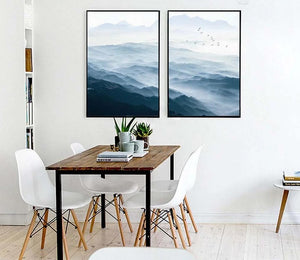 Foggy Mountain Landscape Wall Art Canvas Posters Nordic Style Prints Paintings Wall Picture for Living Room Home Decor - SallyHomey Life's Beautiful