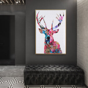 Posters and Print Wall Art Canvas Painting Wall Decoration Colorful Abstract Sika Deer Pictures for Living Room Wall Frameless - SallyHomey Life's Beautiful