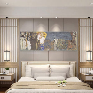 Classical Famous Painting Posters and Prints Wall Art Oil Painting Beethoven Frieze by Gustav Klimt Decorative Painting for Room - SallyHomey Life's Beautiful