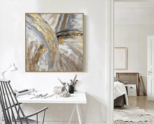 Load image into Gallery viewer, Artist Hand-painted High Quality Modern Abstract Golden Grey Colors Oil Painting on Canvas Abstract Picture for Wall Decoration - SallyHomey Life's Beautiful