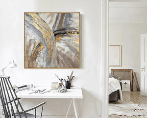 Artist Hand-painted High Quality Modern Abstract Golden Grey Colors Oil Painting on Canvas Abstract Picture for Wall Decoration - SallyHomey Life's Beautiful