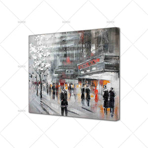 handpainted street building for chrismas gift handmade Canvas oil Painting - SallyHomey Life's Beautiful