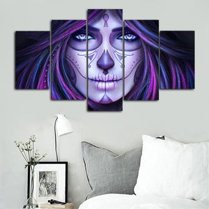 Modern Art Posters and Prints Wall Art Canvas Painting 5Pcs DAY OF THE DEAD Girl Decorative Pictures for Living Room Home Decor - SallyHomey Life's Beautiful