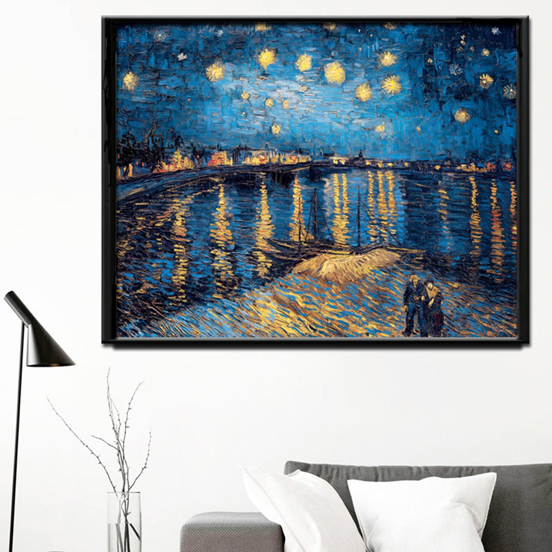 Impressionis Artist Van gogh Starry Sky of The Rhone River Oil Painting on Canvas Wall Art Canvas Picture for Living Room Decor - SallyHomey Life's Beautiful