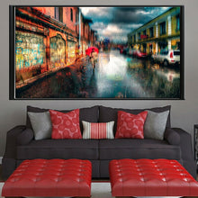 Load image into Gallery viewer, Town Street Landscape Canvas Painting Digital Printed Canvas Art Picture A Girl Walks In The Rain Oil Painting Home Decor Gift - SallyHomey Life's Beautiful