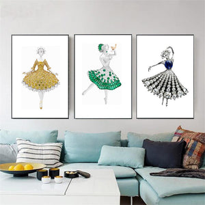 Modern Abstract Art Posters and Print Wall Art Canvas Painting Girls' Dress Inlaid with Gems Decorative Pictures for Living Room - SallyHomey Life's Beautiful