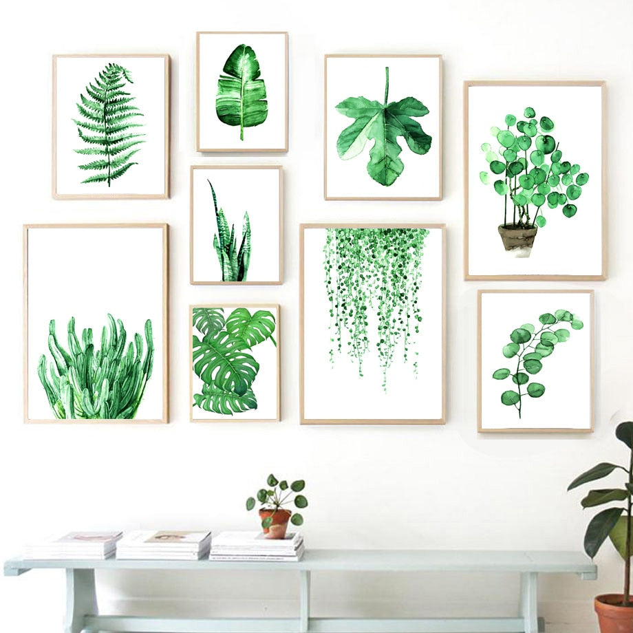 Plants Leaves Cactus Monstera Wall Art Canvas Painting Nordic Posters And Prints Wall Pictures For Living Room Bed Room Decor - SallyHomey Life's Beautiful