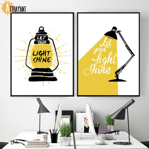 Cartoon Table Lamp Motivational Quotes Wall Art Canvas Painting Nordic Posters And Prints Wall Pictures For Living Room Decor - SallyHomey Life's Beautiful