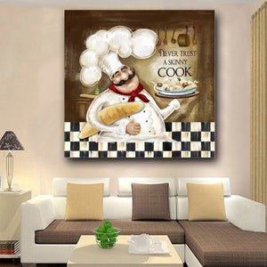 Waterproof Canvas Print Poster Never Trust a Skinny Cook Picture Cook Kitchen Decor Wall Painting For Restaurant Home Decoration - SallyHomey Life's Beautiful