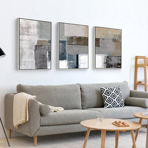 3 piece canvas painting abstract oil painting handmade yellow grey wall art canvas wall pictures for living room home decor - SallyHomey Life's Beautiful