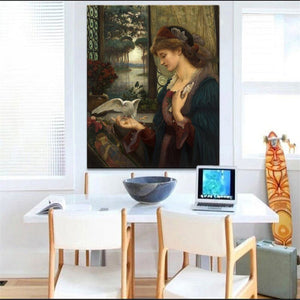 British Painter Marie Spartali Stillman Love's Messenger Posters and Prints Wall Art Canvas Painting Home Decor for Lover Gifts - SallyHomey Life's Beautiful