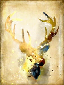 Nordic Abstract Gold Deer Elk Canvas Painting Noble - SallyHomey Life's Beautiful