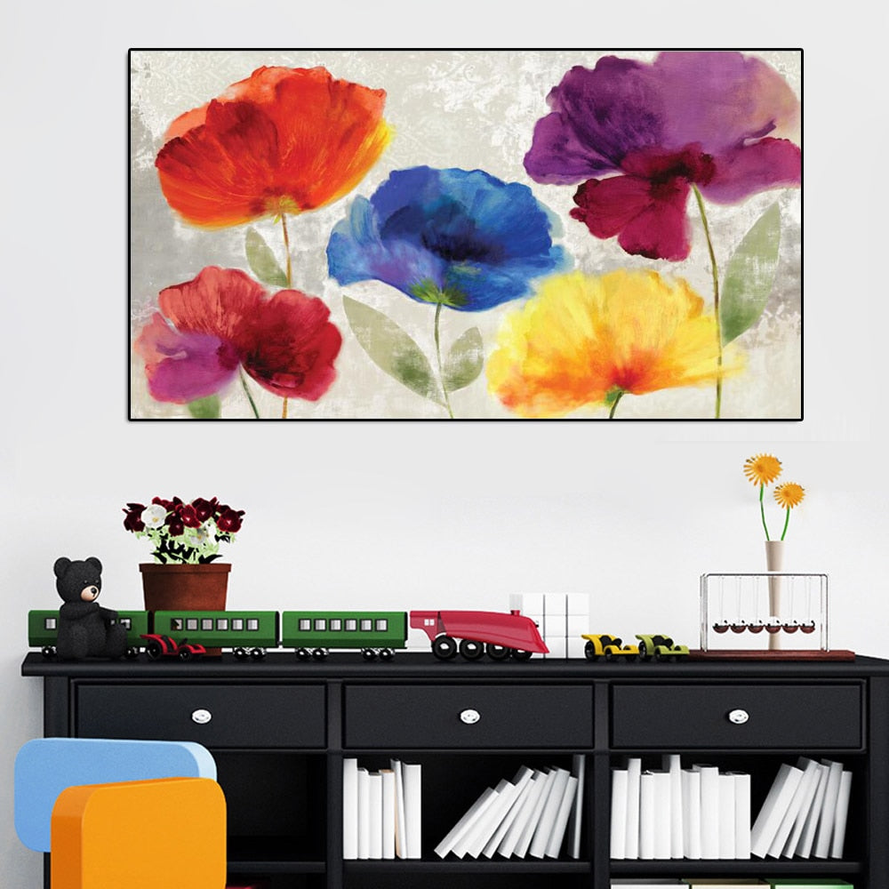 70x140cm Modern Colorful Flower Wall Art Picture - SallyHomey Life's Beautiful