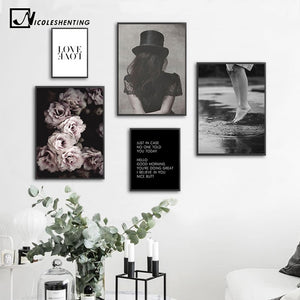 Scandinavian Girl Canvas Painting Nordic Poster Black White Flower Pop Art Print  Decoration Wall Picture for Living Room Decor - SallyHomey Life's Beautiful