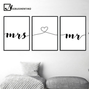 Mr Mrs Family Simple Quotes Wall Art Canvas Poster Minimalist Print Couple Anniversary Painting Picture for Living Room Decor - SallyHomey Life's Beautiful