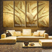 Load image into Gallery viewer, Hand Painted Gold Japanese Banana Leaf Oil Painting Modern Abstract 4 Piece Canvas Art Wall Decor Picture Sets (Other) - SallyHomey Life's Beautiful