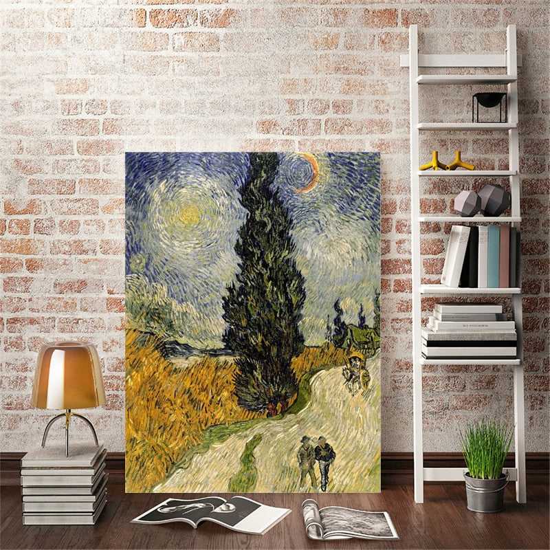 Famous Painter Van Gogh - Road with Cypress under Starry Sky Poster Print on Canvas Wall Art Painting for Living Room Home Decor - SallyHomey Life's Beautiful