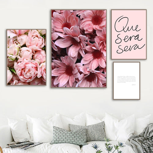 Pink Fresh Gerbera Tulip Rose Quotes Wall Art Canvas Painting Nordic Posters And Prints Wall Pictures For Living Room Home Decor - SallyHomey Life's Beautiful
