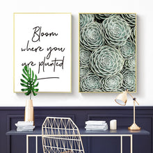 Load image into Gallery viewer, Nordic Modern Posters And Prints Wall Art Canvas Painting Green Wall Succulent Pictures For Living Room Wall Decoration No Frame - SallyHomey Life's Beautiful