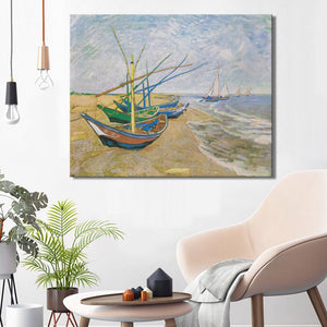 Fishing Boats on the Beach at Les by Van Gogh Poster Print on Canvas Wall Art Canvas Abstract Decorative Painting for Home Room - SallyHomey Life's Beautiful