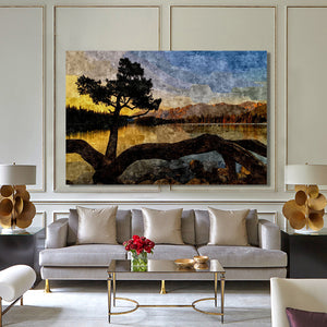 Modern Abstract Sea Sunrise Landscape Wall Art Painting - SallyHomey Life's Beautiful