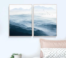 Load image into Gallery viewer, Foggy Mountain Landscape Wall Art Canvas Posters Nordic Style Prints Paintings Wall Picture for Living Room Home Decor - SallyHomey Life's Beautiful