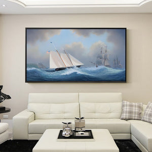 Modern Seascape Posters and Prints Wall Art Canvas Painting Sail the Ocean Wall Pictures for Living Room Home Decor Frameless - SallyHomey Life's Beautiful