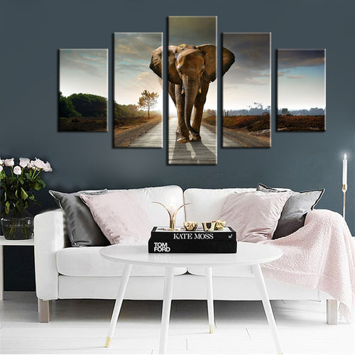 Modern Animals Posters and Prints Wall Art Canvas Painting 5Pcs The Giant Elephant Pictures for Living Room Wall Home Decoration - SallyHomey Life's Beautiful