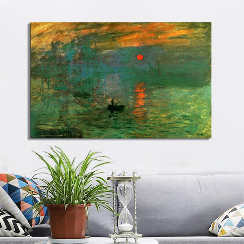 Claude Monet's Impression Sunrise Posters and Prints on Canvas Wall Art Painting Classic Famous Painting for Living Room Decor - SallyHomey Life's Beautiful
