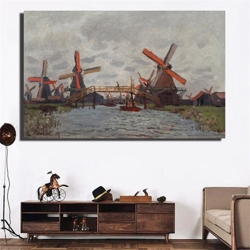 Impressionis Artist Claude Monet Windmill Near Zaandam Landscape Oil Painting On Canvas Art Wall Picture Canvas for Room Decor - SallyHomey Life's Beautiful