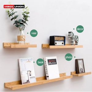 Wall Mounted Floating Display Shelves Wood Wall Storage Shelves for Bedroom Living Room Bathroom Kitchen Office Home Decorative