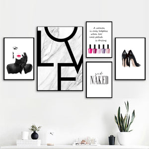 Sexy Girl Nail Polish Quotes Love Wall Art Canvas Painting Nordic Posters And Prints Wall Pictures For Living Room Salon Decor - SallyHomey Life's Beautiful
