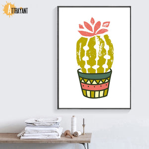 Cartoon Cactus Aloe Flower Wall Art Canvas Painting Nordic Poster And Prints Plants Wall Pictures For Living Room Home Decor - SallyHomey Life's Beautiful