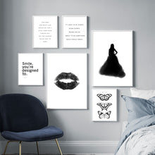 Load image into Gallery viewer, Black White Fashion Girl Lip Butterfly Wall Art Canvas Painting Nordic Posters And Prints Wall Pictures For Living Room Decor - SallyHomey Life's Beautiful
