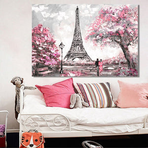 Abstract Landscape Posters and Prints on Canvas Wall Art Oil Painting New York and Paris City View Picture for Living Room Decor - SallyHomey Life's Beautiful