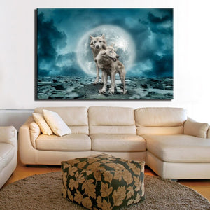 Modern Animals Posters and HD Prints Wall Art Canvas Painting Wall Decoration Wolves Pictures for Living Room Wall Frameless - SallyHomey Life's Beautiful