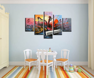 5 piece canvas art abstract paintings musical instruments painting decorative pictures hand painted oil painting for living room - SallyHomey Life's Beautiful