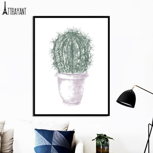 Cartoon Tropical Plant Cactus Flower Wall Art Canvas Painting Nordic Posters And Prints Wall Pictures For Baby Kids Room Decor - SallyHomey Life's Beautiful
