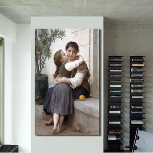 France Aestheticism Painter William Adolphe Bouguereau A Little Coaxing Poster Print on Canvas Wall Art Painting for Living Room - SallyHomey Life's Beautiful